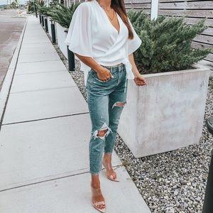 White crop Cape sleeve tie front blouse
